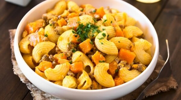 ricetta pasta legumi con zucca