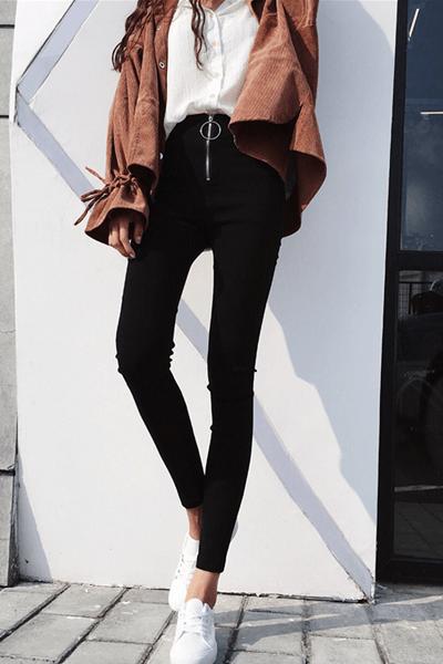 pantaloni-a-vita-alta-skinny-nero