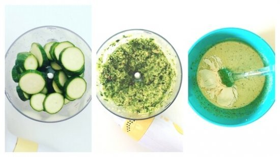 Zucchine a rondelle, zucchine frullate e impasto