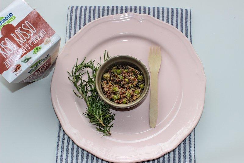 Riso rosso con zucchine_piselli_amaranto