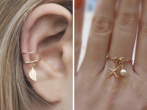 orecchini anelli con ciondolo