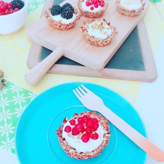Presentazione Cestino di avena e banana con yogurt