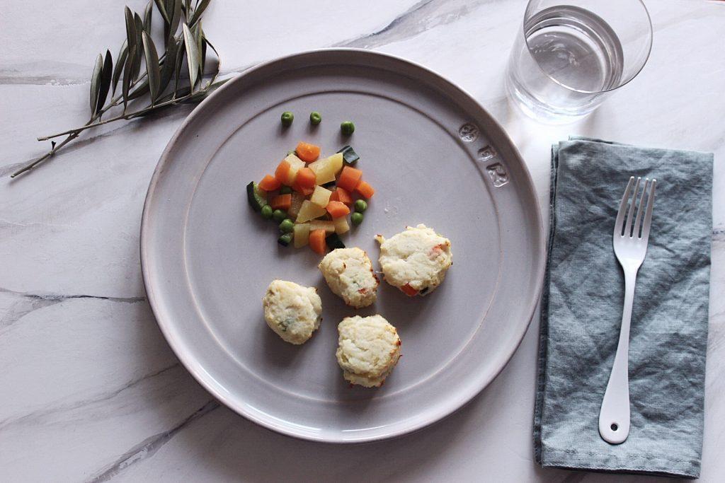 Polpette di merluzzo e verdure croccanti