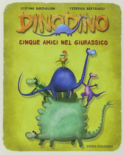 Cinque amici nel giurassico libro per bambini